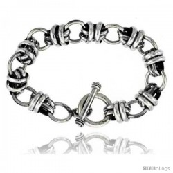 Sterling Silver Large Wrapped Oval & Round Link Bracelet