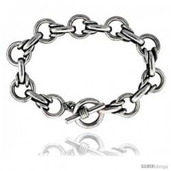 Sterling Silver Large Round Link Bracelet