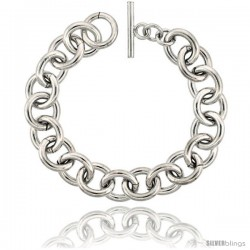 Sterling Silver Rolo Bracelet 8 1/2 in long Handmade