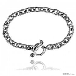 Sterling Silver Oval Rolo Link Bracelet -Style Lx116