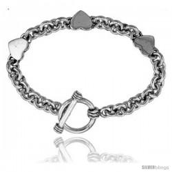 Sterling Silver Triple Solid Heart Rolo Link Bracelet
