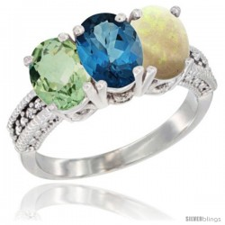 14K White Gold Natural Green Amethyst, London Blue Topaz & Opal Ring 3-Stone 7x5 mm Oval Diamond Accent