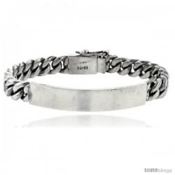 Sterling Silver Cuban Curb Link Men's ID Bracelet 5/16 in wide