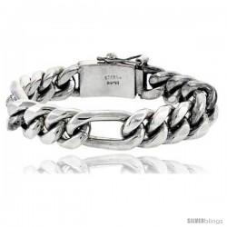 Gent's Sterling Silver Figaro Link Bracelet all Handmade 1/2 in wide