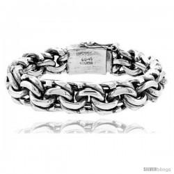 Gent's Sterling Silver Garibaldi Link Bracelet Handmade 1/2 in wide