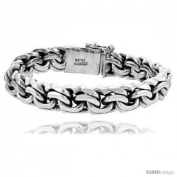 Gent's Sterling Silver Garibaldi Link Bracelet Handmade 1/2 in wide -Style Lx210