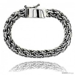Gent's Sterling Silver Garibaldi Link Bracelet Handmade 3/8 in wide