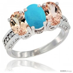 10K White Gold Natural Turquoise & Morganite Sides Ring 3-Stone Oval 7x5 mm Diamond Accent