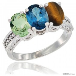 14K White Gold Natural Green Amethyst, London Blue Topaz & Tiger Eye Ring 3-Stone 7x5 mm Oval Diamond Accent