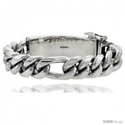 Gent's Sterling Silver Figaro Identification Bracelet Handmade 5/8 in wide