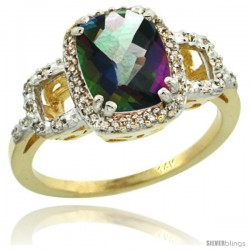 14k Yellow Gold Diamond Mystic Topaz Ring 2 ct Checkerboard Cut Cushion Shape 9x7 mm, 1/2 in wide