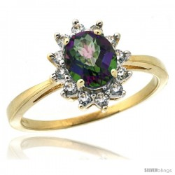 14k Yellow Gold Diamond Halo Mystic Topaz Ring 0.85 ct Oval Stone 7x5 mm, 1/2 in wide