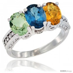 14K White Gold Natural Green Amethyst, London Blue Topaz & Whisky Quartz Ring 3-Stone 7x5 mm Oval Diamond Accent