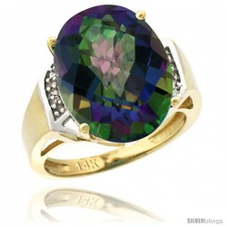 14k Yellow Gold Diamond Mystic Topaz Ring 9.7 ct Large Oval Stone 16x12 mm, 5/8 in wide