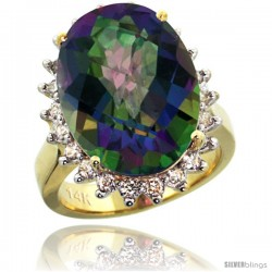 14k Yellow Gold Diamond Halo Mystic Topaz Ring 10 ct Large Oval Stone 18x13 mm, 7/8 in wide
