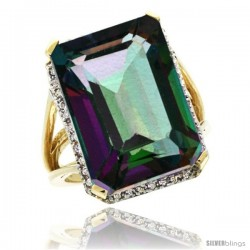14k Yellow Gold Diamond Mystic Topaz Ring 14.96 ct Emerald shape 18x13 mm Stone, 13/16 in wide