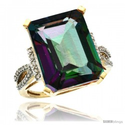 14k Yellow Gold Diamond Mystic Topaz Ring 12 ct Emerald Shape 16x12 Stone 3/4 in wide