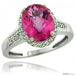 Sterling Silver Diamond Natural Pink Topaz Ring 2.4 ct Oval Stone 10x8 mm, 1/2 in wide