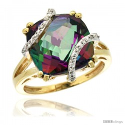 14k Yellow Gold Diamond Mystic Topaz Ring 7.5 ct Cushion Cut 12 mm Stone, 1/2 in wide