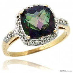 14k Yellow Gold Diamond Mystic Topaz Ring 2.08 ct Cushion cut 8 mm Stone 1/2 in wide