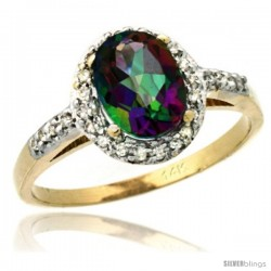 14k Yellow Gold Diamond Mystic Topaz Ring Oval Stone 8x6 mm 1.17 ct 3/8 in wide