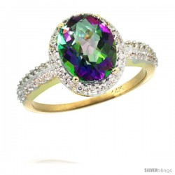 14k Yellow Gold Diamond Mystic Topaz Ring Oval Stone 10x8 mm 2.4 ct 1/2 in wide