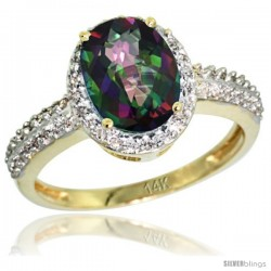 14k Yellow Gold Diamond Mystic Topaz Ring Oval Stone 9x7 mm 1.76 ct 1/2 in wide