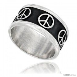 Sterling Silver Southwest Design Peace Sign Ring 1/4 in wide