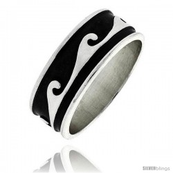 Sterling Silver Southwest Design Wave Ring 5/16 in wide