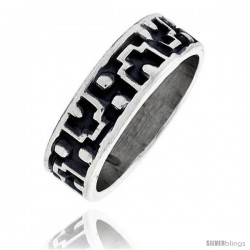 Sterling Silver Southwest Design Aztec Design Ring 1/4 in wide -Style Xr130