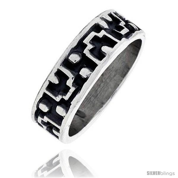 Sterling Silver 9 mm Southwest Design Aztec Design Ring Hand Made 6J4qHEM