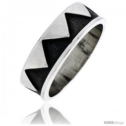 Sterling Silver Southwest Design Aztec Design Ring 1/4 in wide -Style Xr132