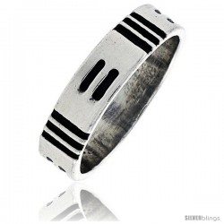 Sterling Silver Southwest Design American Indian design Ring 1/4 in wide -Style Xr133