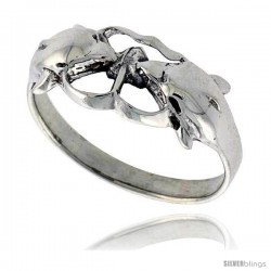 Sterling Silver Polished Kissing Dolphin Ring 3/8 wide