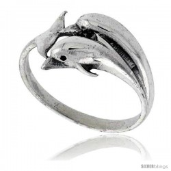 Sterling Silver Polished Double Dolphin Ring 1/2 in wide