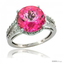 Sterling Silver Diamond Natural Pink Topaz Ring 5.25 ct Round Shape 11 mm, 1/2 in wide