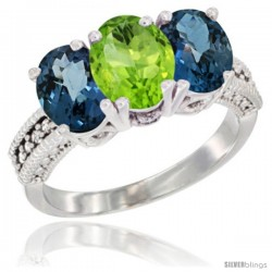 14K White Gold Natural Peridot & London Blue Topaz Sides Ring 3-Stone 7x5 mm Oval Diamond Accent