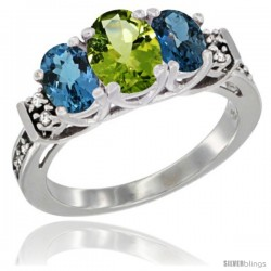 14K White Gold Natural Peridot & London Blue Ring 3-Stone Oval with Diamond Accent