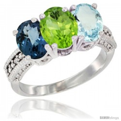 14K White Gold Natural London Blue Topaz, Peridot & Aquamarine Ring 3-Stone 7x5 mm Oval Diamond Accent