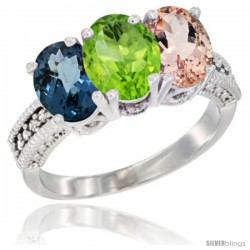 14K White Gold Natural London Blue Topaz, Peridot & Morganite Ring 3-Stone 7x5 mm Oval Diamond Accent