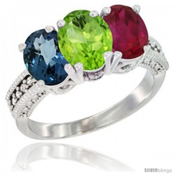 14K White Gold Natural London Blue Topaz, Peridot & Ruby Ring 3-Stone 7x5 mm Oval Diamond Accent