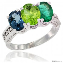 14K White Gold Natural London Blue Topaz, Peridot & Emerald Ring 3-Stone 7x5 mm Oval Diamond Accent