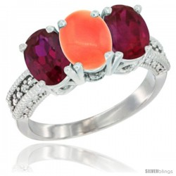 14K White Gold Natural Coral & Ruby Sides Ring 3-Stone 7x5 mm Oval Diamond Accent