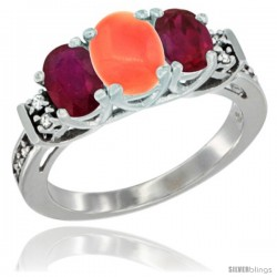 14K White Gold Natural Coral & Ruby Ring 3-Stone Oval with Diamond Accent