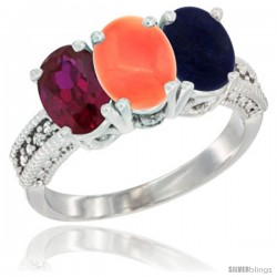 14K White Gold Natural Ruby, Coral & Lapis Ring 3-Stone 7x5 mm Oval Diamond Accent