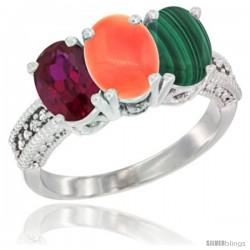 14K White Gold Natural Ruby, Coral & Malachite Ring 3-Stone 7x5 mm Oval Diamond Accent