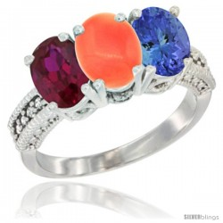 14K White Gold Natural Ruby, Coral & Tanzanite Ring 3-Stone 7x5 mm Oval Diamond Accent