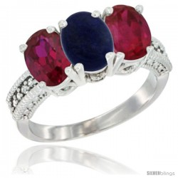 14K White Gold Natural Lapis & Ruby Sides Ring 3-Stone 7x5 mm Oval Diamond Accent