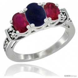14K White Gold Natural Lapis & Ruby Ring 3-Stone Oval with Diamond Accent