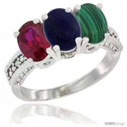 14K White Gold Natural Ruby, Lapis & Malachite Ring 3-Stone 7x5 mm Oval Diamond Accent